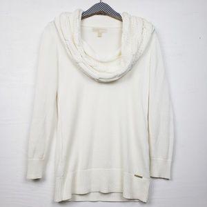 Michael Kors Cream Textured Cowl Neck Sweater